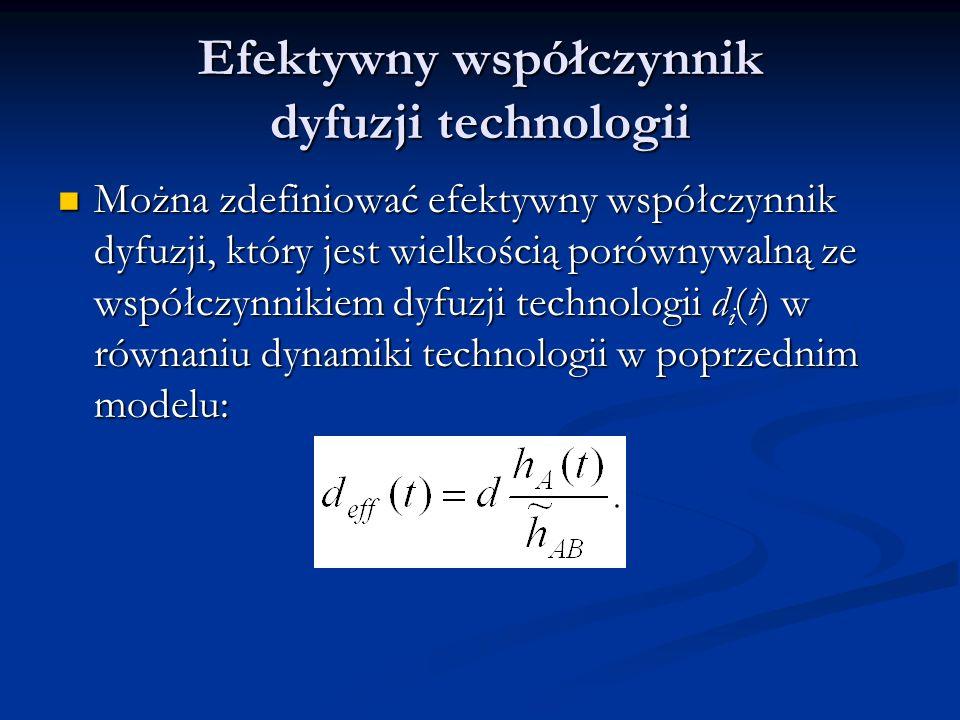 Efektywny współczynnik dyfuzji technologii Można zdefiniować efektywny współczynnik dyfuzji, który jest wielkością porównywalną ze współczynnikiem dyf