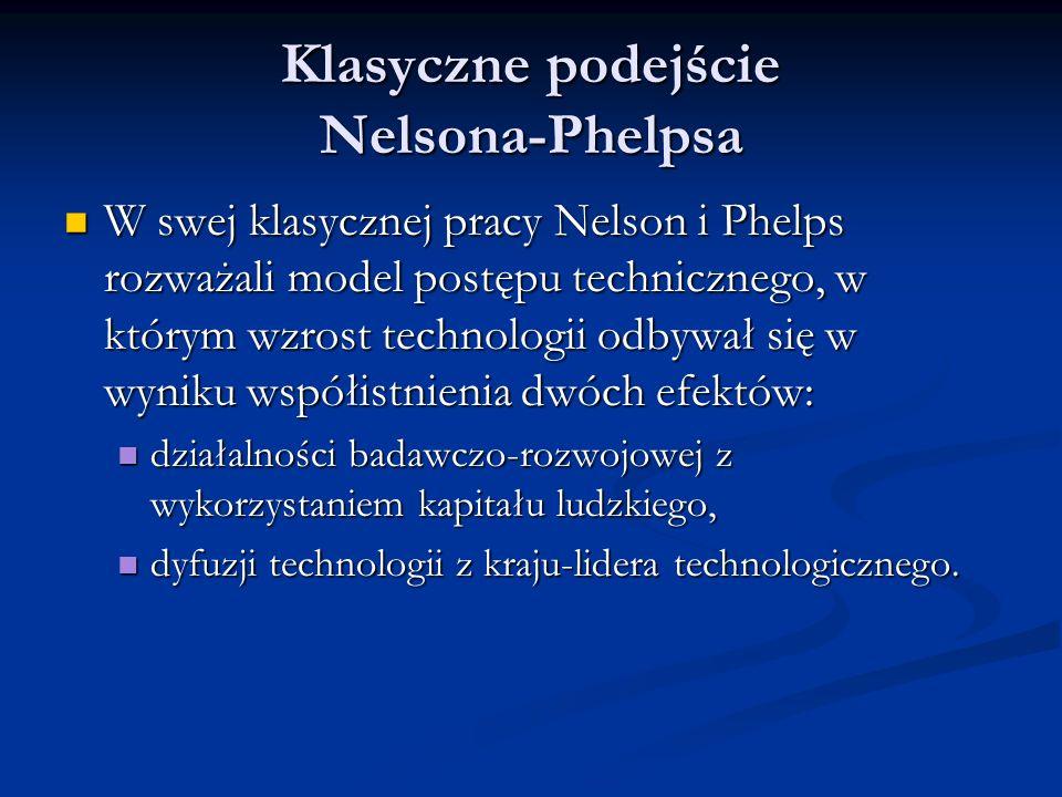 Klasyczne podejście Nelsona-Phelpsa Nelson i Phelps założyli, że równanie dynamiki dla zmiennej technologicznej A i (t) w kraju i-tym przyjmuje postać: Nelson i Phelps założyli, że równanie dynamiki dla zmiennej technologicznej A i (t) w kraju i-tym przyjmuje postać: