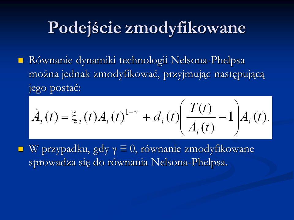 Podejście zmodyfikowane Równanie dynamiki technologii Nelsona-Phelpsa można jednak zmodyfikować, przyjmując następującą jego postać: Równanie dynamiki