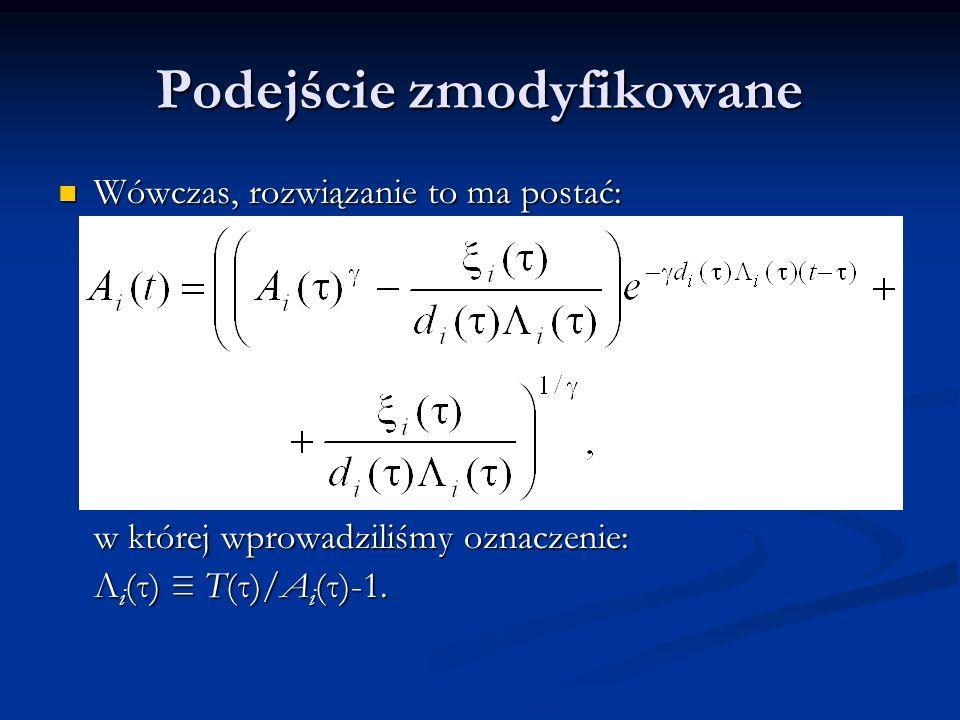 Podejście zmodyfikowane Rozwiązanie to ma sens ekonomiczny w przedziale czasu [τ, τ+τ max ], gdzie τ+τ max oznacza chwilę, dla której założenie o stałości czynnika T(t)/A i (t)-1 lub pozostałych zmiennych modelu – ξ i (τ) oraz d i (τ) – przestaje być uzasadnione.