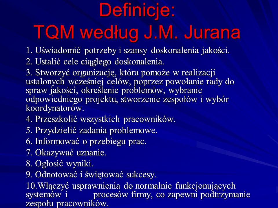 Definicje: TQM według J.M. Jurana 1. Uświadomić potrzeby i szansy doskonalenia jakości. 2. Ustalić cele ciągłego doskonalenia. 3. Stworzyć organizację