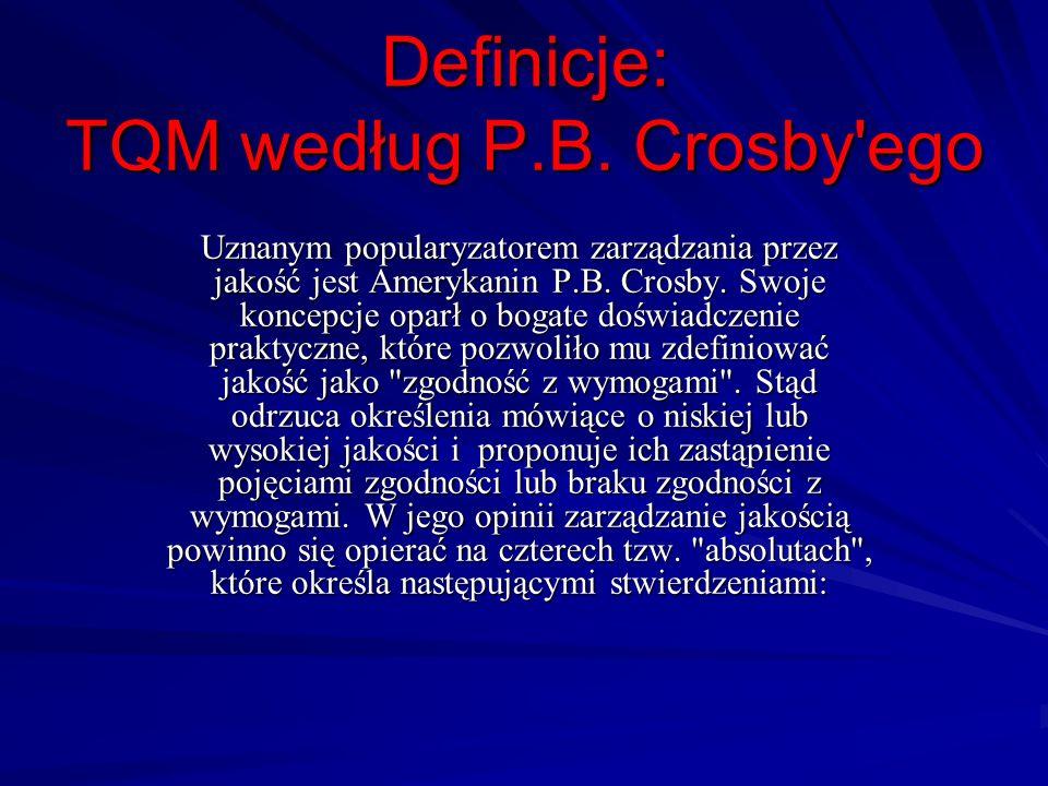 Definicje: TQM według P.B. Crosby'ego Uznanym popularyzatorem zarządzania przez jakość jest Amerykanin P.B. Crosby. Swoje koncepcje oparł o bogate doś