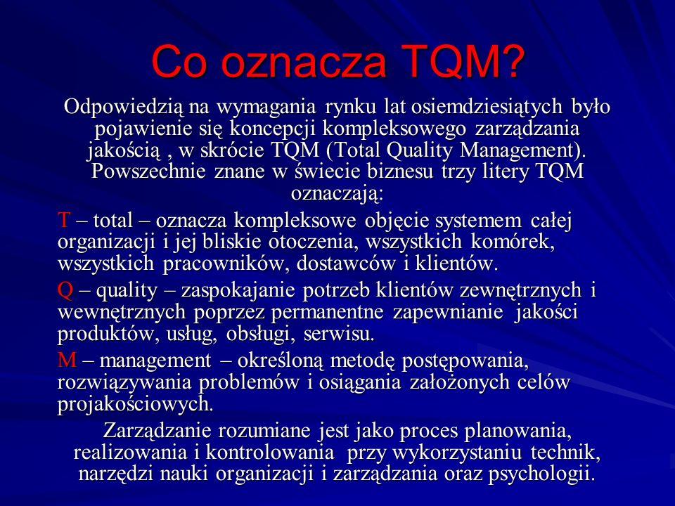 Co oznacza TQM? Odpowiedzią na wymagania rynku lat osiemdziesiątych było pojawienie się koncepcji kompleksowego zarządzania jakością, w skrócie TQM (T