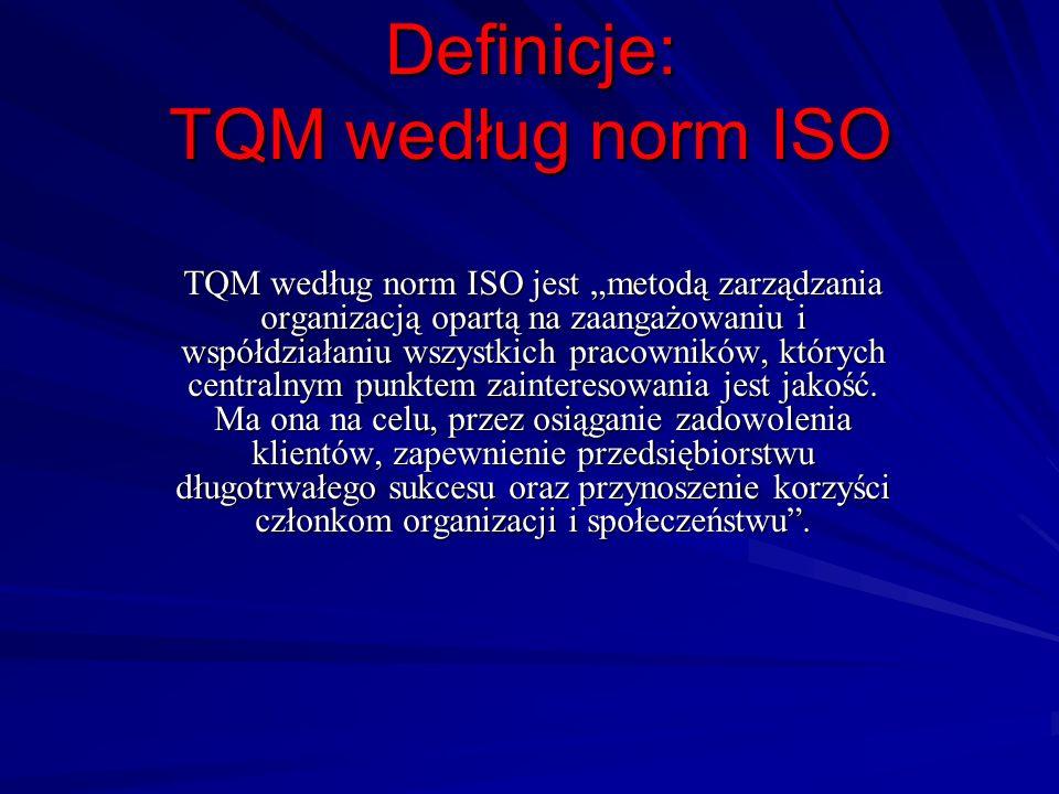 Definicje: TQM według norm ISO TQM według norm ISO jest metodą zarządzania organizacją opartą na zaangażowaniu i współdziałaniu wszystkich pracowników