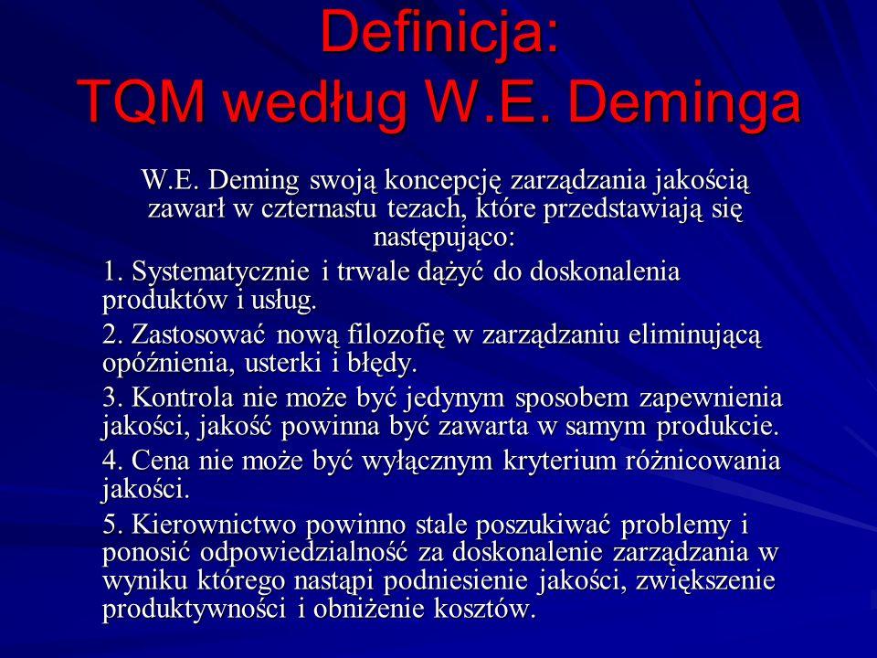 Definicja: TQM według W.E. Deminga W.E. Deming swoją koncepcję zarządzania jakością zawarł w czternastu tezach, które przedstawiają się następująco: 1