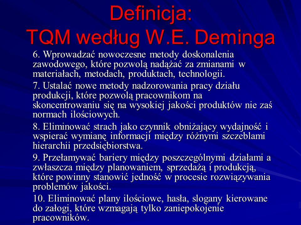 Definicja: TQM według W.E. Deminga 6. Wprowadzać nowoczesne metody doskonalenia zawodowego, które pozwolą nadążać za zmianami w materiałach, metodach,