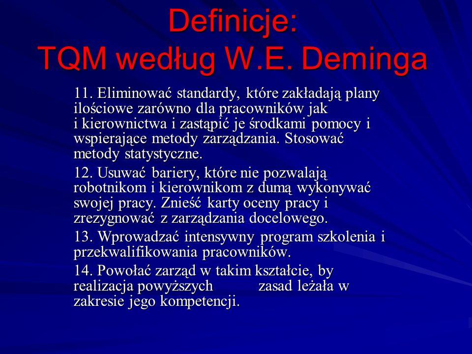 Definicje: TQM według W.E. Deminga 11. Eliminować standardy, które zakładają plany ilościowe zarówno dla pracowników jak i kierownictwa i zastąpić je