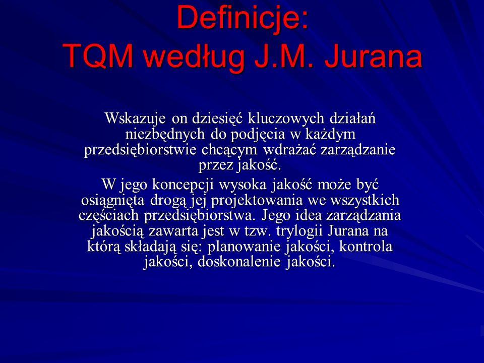 Definicje: TQM według J.M. Jurana Wskazuje on dziesięć kluczowych działań niezbędnych do podjęcia w każdym przedsiębiorstwie chcącym wdrażać zarządzan