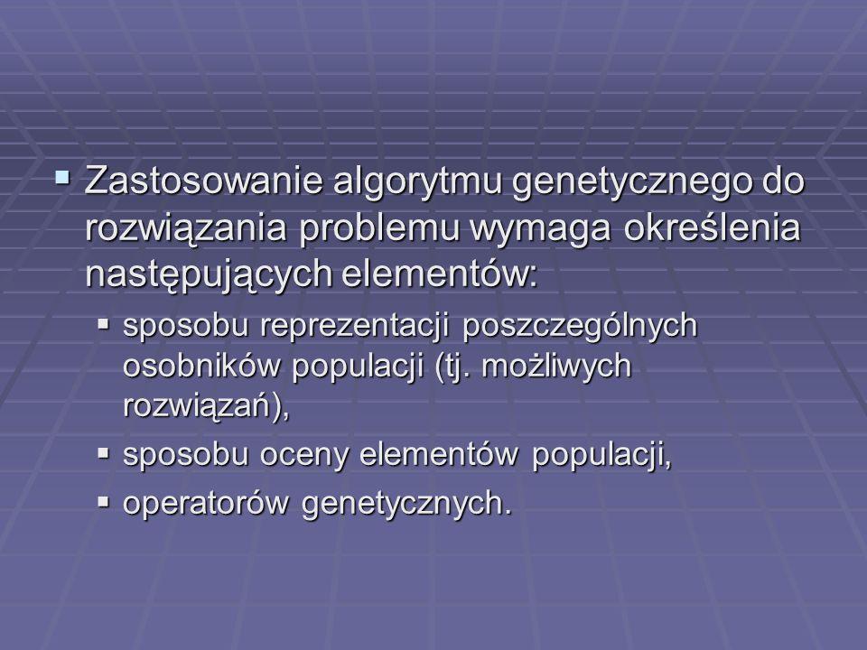 Zastosowanie algorytmu genetycznego do rozwiązania problemu wymaga określenia następujących elementów: Zastosowanie algorytmu genetycznego do rozwiąza