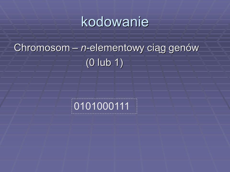 kodowanie Chromosom – n-elementowy ciąg genów (0 lub 1) (0 lub 1) 0101000111