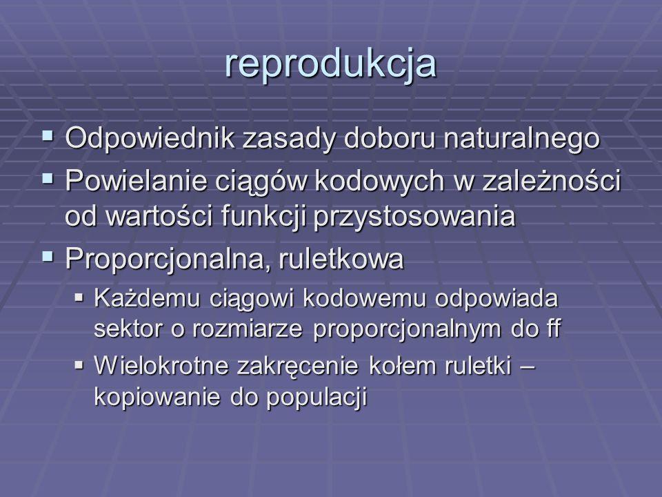 reprodukcja Odpowiednik zasady doboru naturalnego Odpowiednik zasady doboru naturalnego Powielanie ciągów kodowych w zależności od wartości funkcji pr