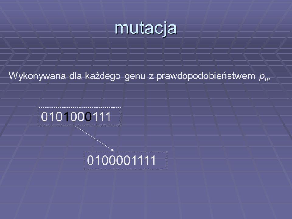 mutacja 0100001111 0101000111 Wykonywana dla każdego genu z prawdopodobieństwem p m