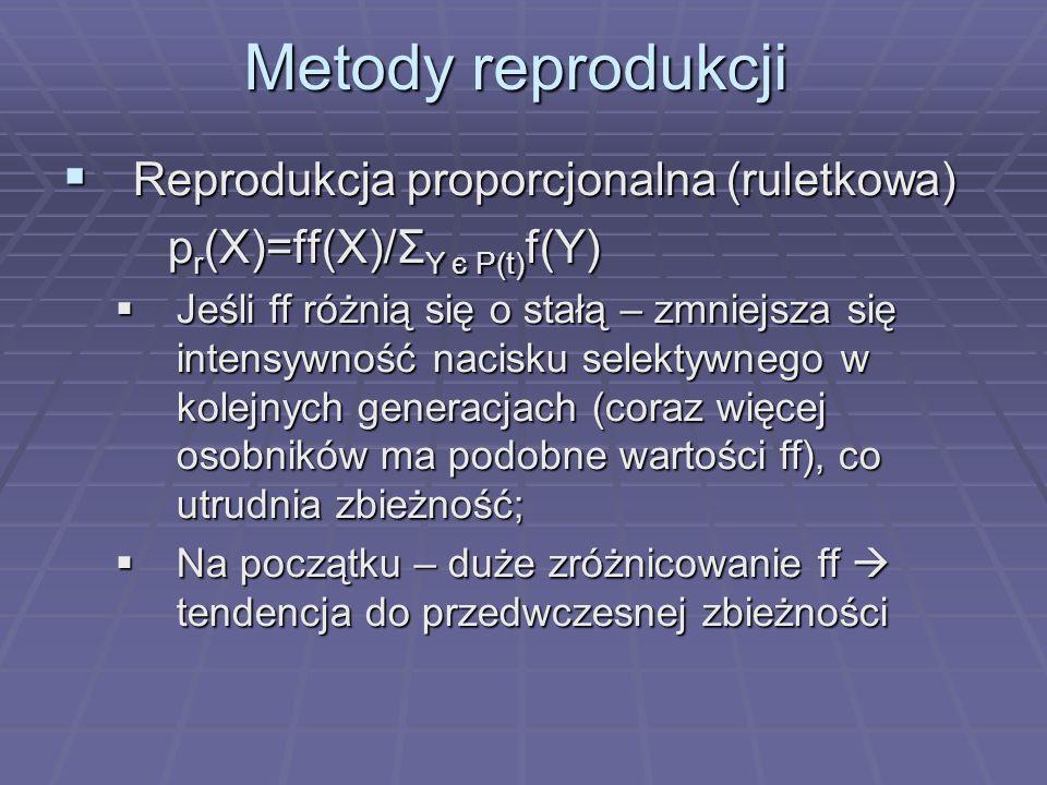 Metody reprodukcji Reprodukcja proporcjonalna (ruletkowa) Reprodukcja proporcjonalna (ruletkowa) p r (X)=ff(X)/Σ Y є P(t) f(Y) Jeśli ff różnią się o s