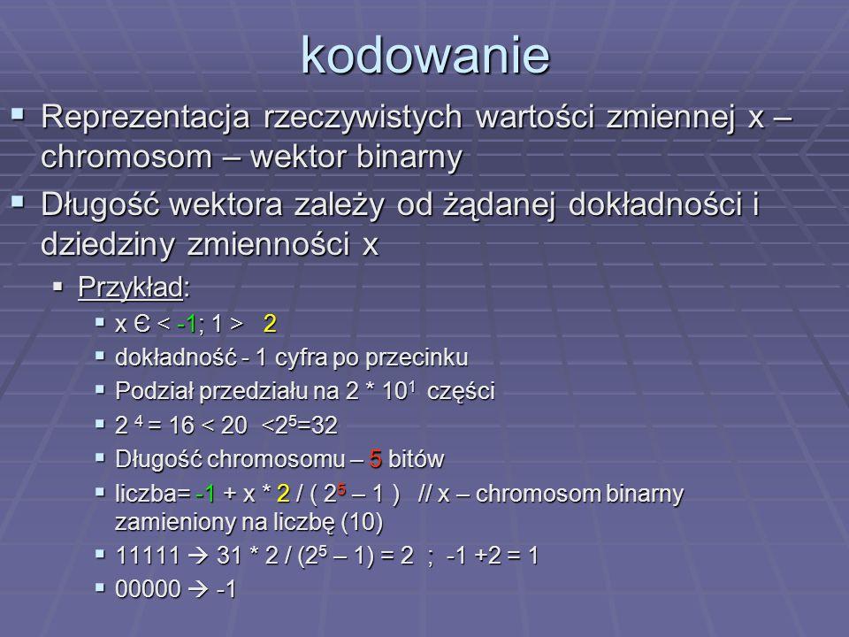 kodowanie Reprezentacja rzeczywistych wartości zmiennej x – chromosom – wektor binarny Reprezentacja rzeczywistych wartości zmiennej x – chromosom – w