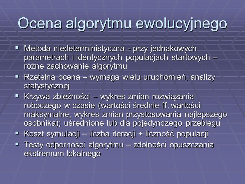 Ocena algorytmu ewolucyjnego Metoda niedeterministyczna - przy jednakowych parametrach i identycznych populacjach startowych – różne zachowanie algory