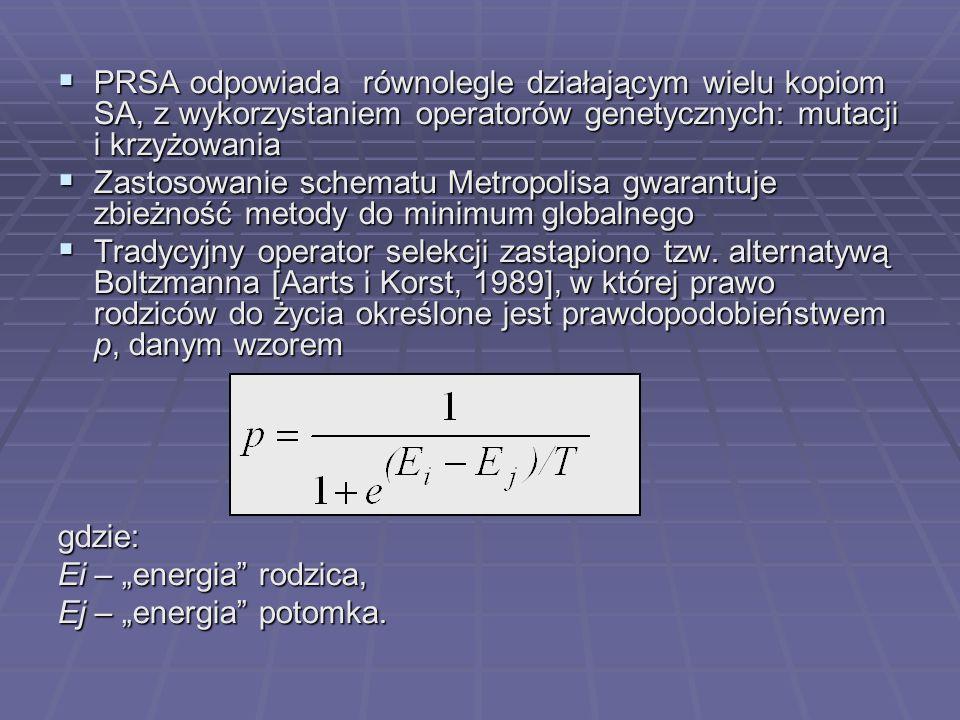 PRSA odpowiada równolegle działającym wielu kopiom SA, z wykorzystaniem operatorów genetycznych: mutacji i krzyżowania PRSA odpowiada równolegle dział