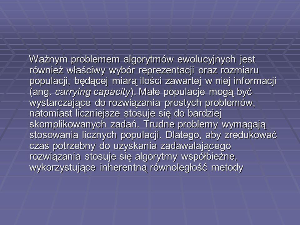Ważnym problemem algorytmów ewolucyjnych jest również właściwy wybór reprezentacji oraz rozmiaru populacji, będącej miarą ilości zawartej w niej infor