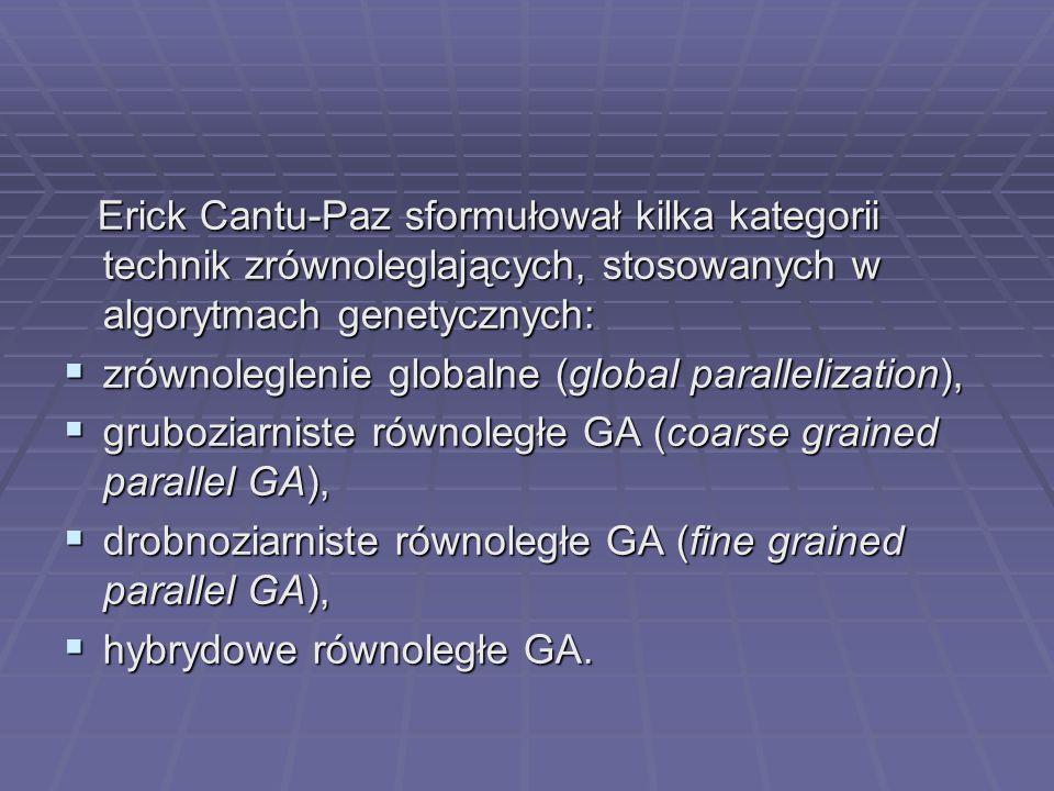 Erick Cantu-Paz sformułował kilka kategorii technik zrównoleglających, stosowanych w algorytmach genetycznych: Erick Cantu-Paz sformułował kilka kateg