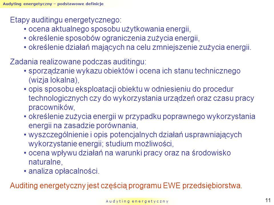Audyting energetyczny – podstawowe definicje A u d y t i n g e n e r g e t y c z n y 11 Etapy auditingu energetycznego: ocena aktualnego sposobu użytk