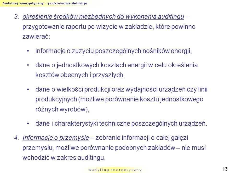 Audyting energetyczny – podstawowe definicje A u d y t i n g e n e r g e t y c z n y 13 3.określenie środków niezbędnych do wykonania auditingu – przy