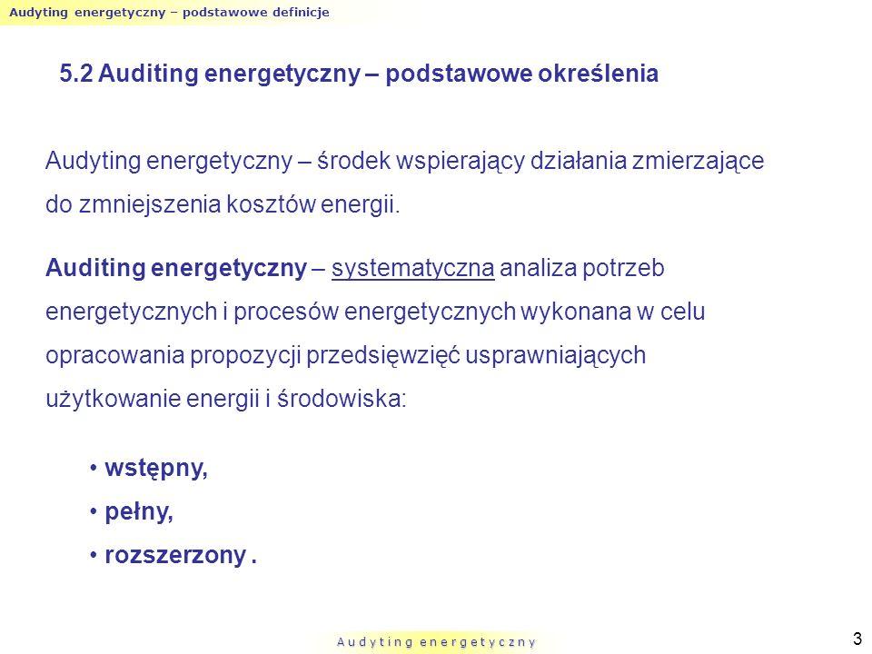 Audyting energetyczny – podstawowe definicje A u d y t i n g e n e r g e t y c z n y 3 Audyting energetyczny – środek wspierający działania zmierzając