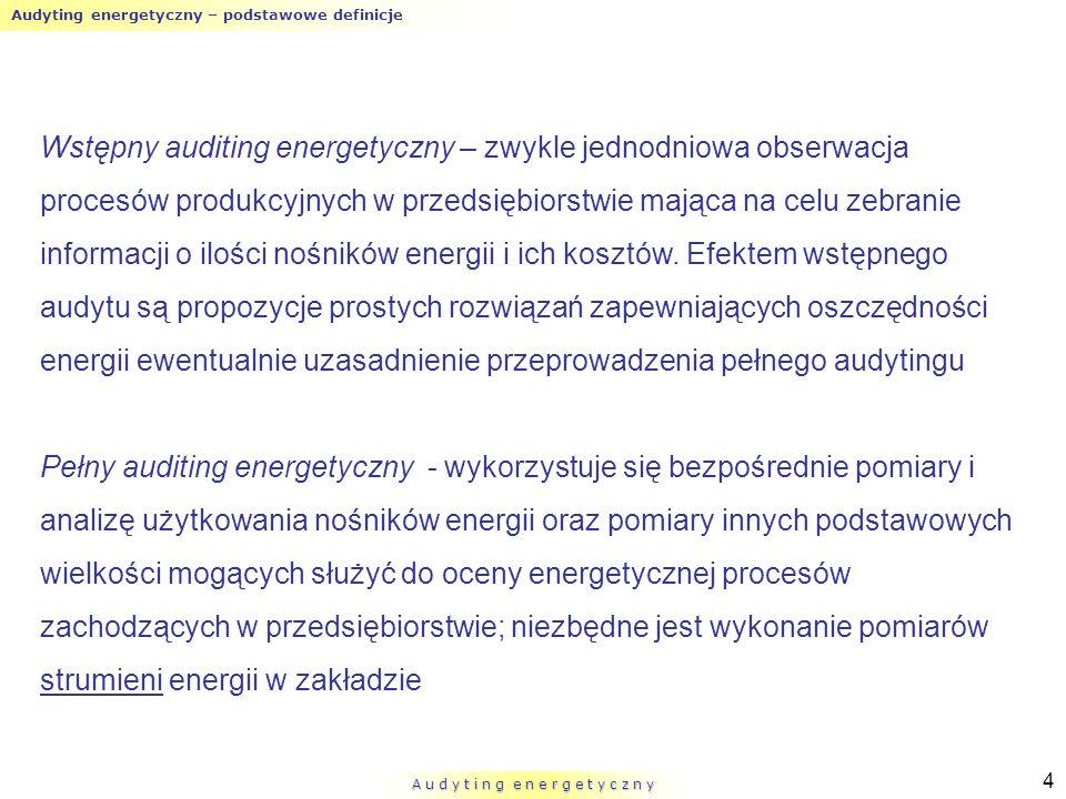 Audyting energetyczny – podstawowe definicje A u d y t i n g e n e r g e t y c z n y 4 Wstępny auditing energetyczny – zwykle jednodniowa obserwacja p