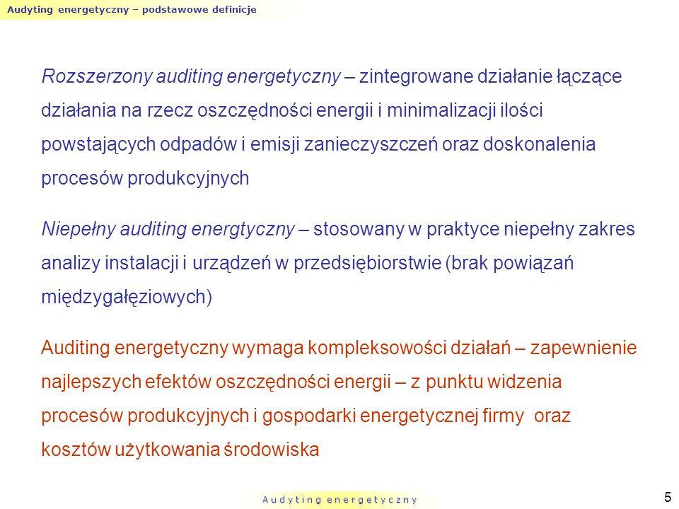 Audyting energetyczny – podstawowe definicje A u d y t i n g e n e r g e t y c z n y 5 Rozszerzony auditing energetyczny – zintegrowane działanie łącz