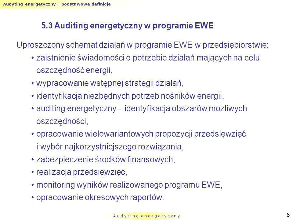 Audyting energetyczny – podstawowe definicje A u d y t i n g e n e r g e t y c z n y 6 Uproszczony schemat działań w programie EWE w przedsiębiorstwie