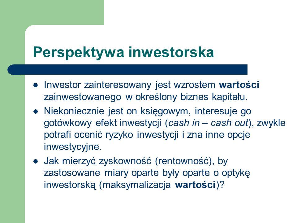 Perspektywa inwestorska Inwestor zainteresowany jest wzrostem wartości zainwestowanego w określony biznes kapitału. Niekoniecznie jest on księgowym, i