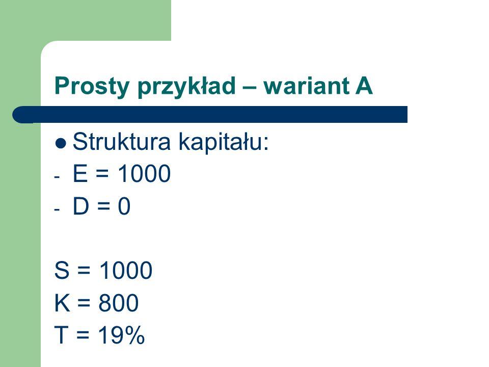 Prosty przykład – wariant A Struktura kapitału: - E = 1000 - D = 0 S = 1000 K = 800 T = 19%