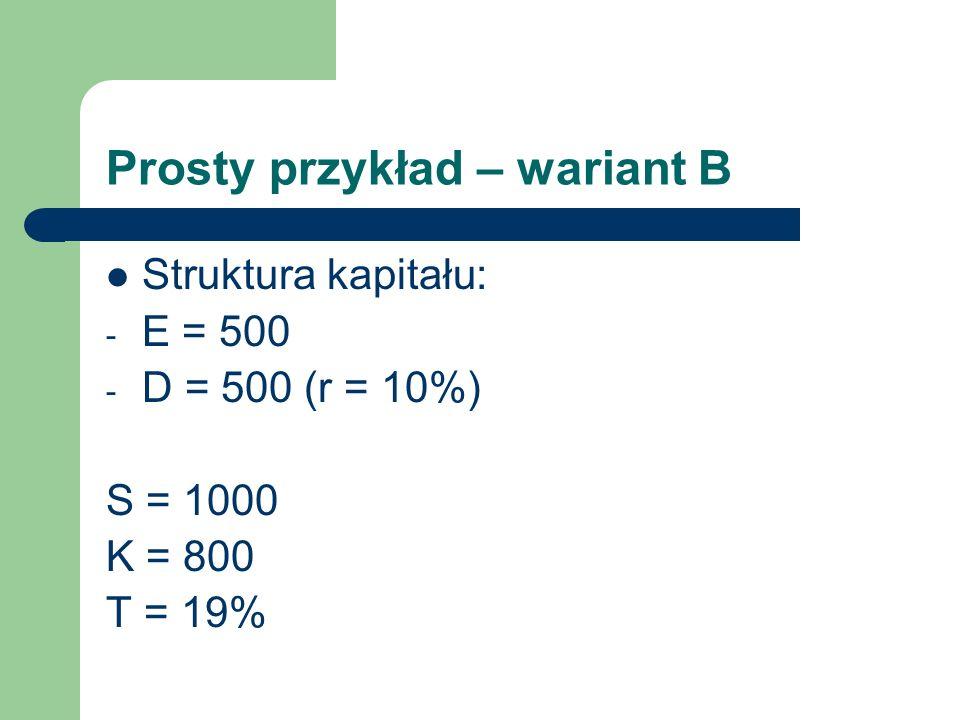 Prosty przykład – wariant B Struktura kapitału: - E = 500 - D = 500 (r = 10%) S = 1000 K = 800 T = 19%