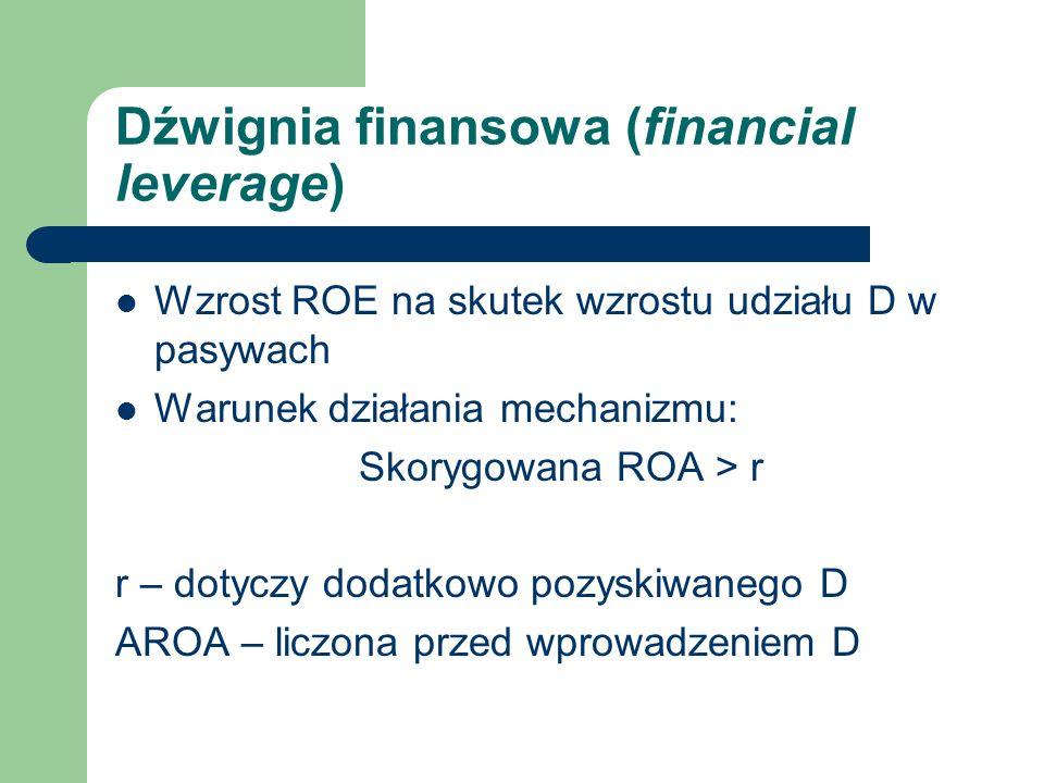 Dźwignia finansowa (financial leverage) Wzrost ROE na skutek wzrostu udziału D w pasywach Warunek działania mechanizmu: Skorygowana ROA > r r – dotycz