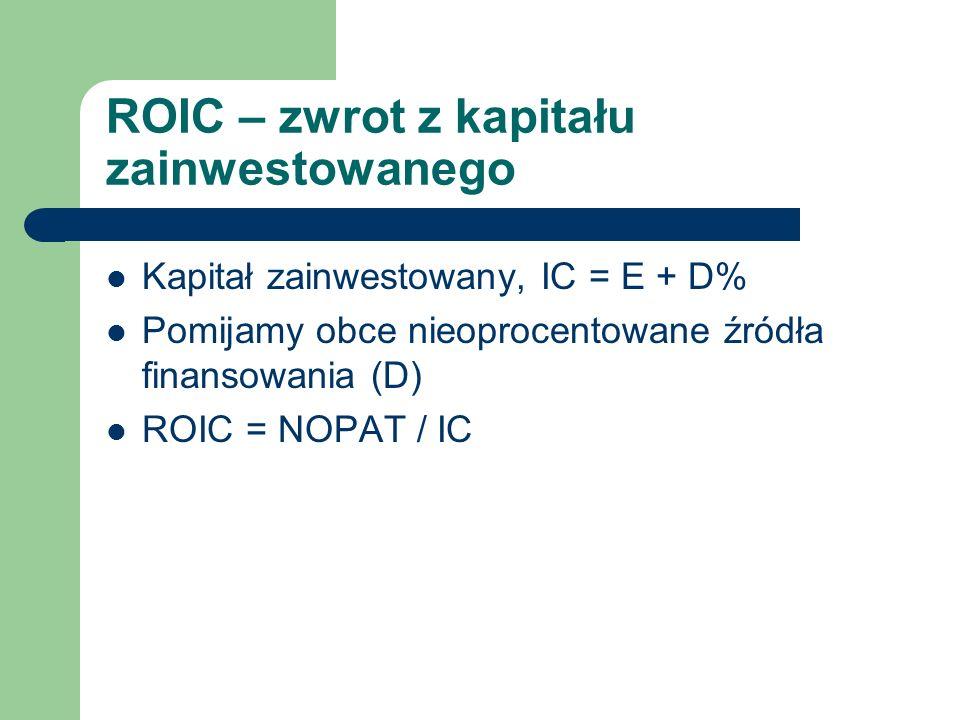 ROIC – zwrot z kapitału zainwestowanego Kapitał zainwestowany, IC = E + D% Pomijamy obce nieoprocentowane źródła finansowania (D) ROIC = NOPAT / IC
