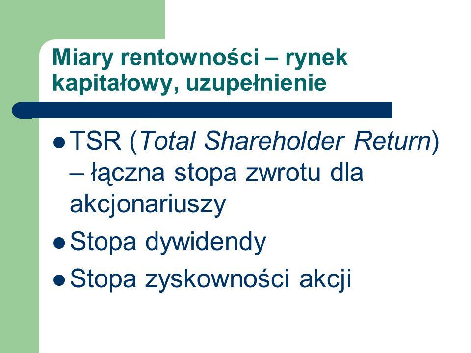 Miary rentowności – rynek kapitałowy, uzupełnienie TSR (Total Shareholder Return) – łączna stopa zwrotu dla akcjonariuszy Stopa dywidendy Stopa zyskow