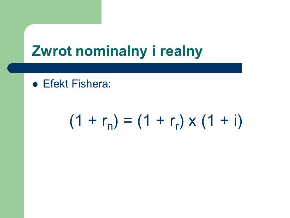 Zwrot nominalny i realny Efekt Fishera: (1 + r n ) = (1 + r r ) x (1 + i)