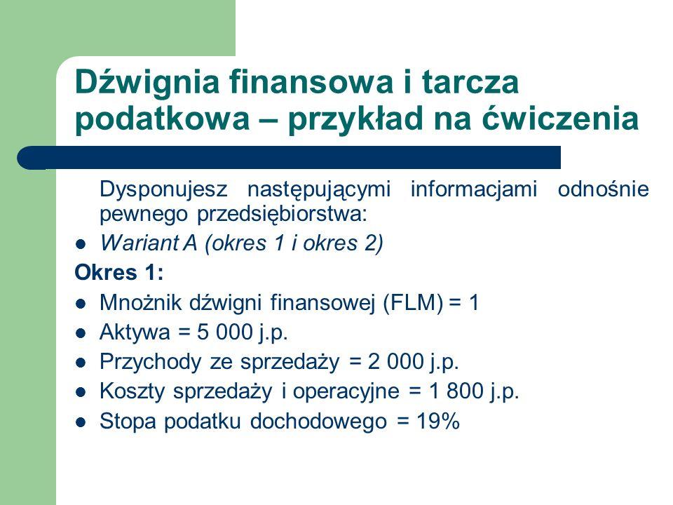 Dźwignia finansowa i tarcza podatkowa – przykład na ćwiczenia Dysponujesz następującymi informacjami odnośnie pewnego przedsiębiorstwa: Wariant A (okr