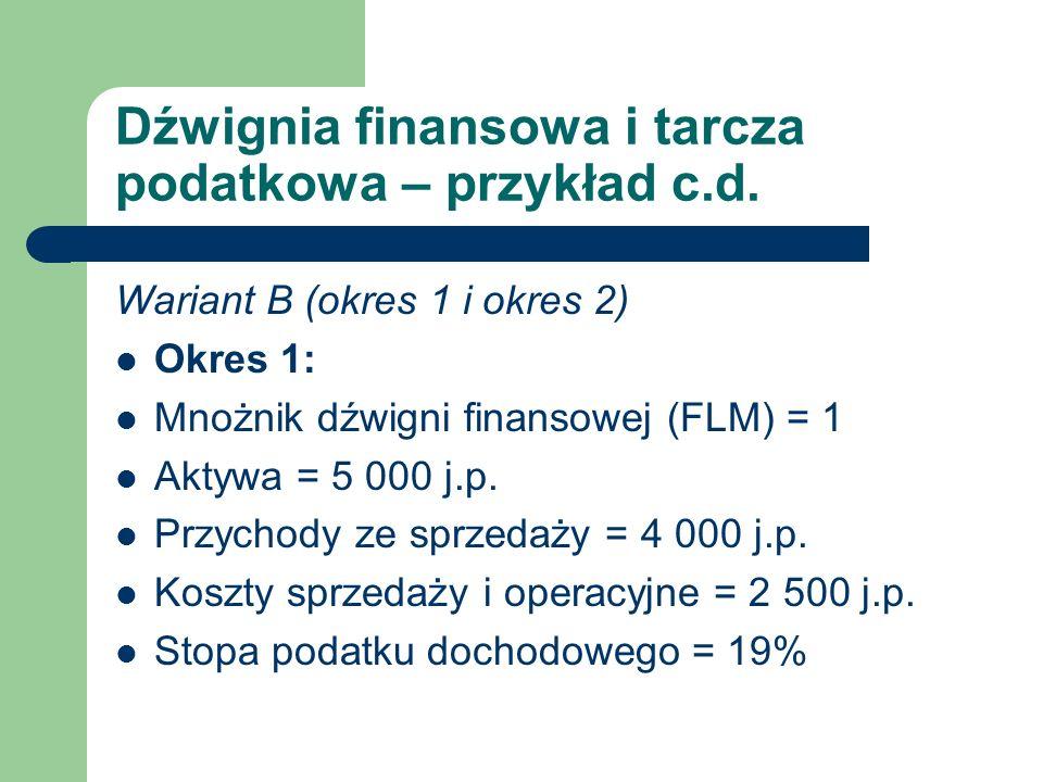 Dźwignia finansowa i tarcza podatkowa – przykład c.d. Wariant B (okres 1 i okres 2) Okres 1: Mnożnik dźwigni finansowej (FLM) = 1 Aktywa = 5 000 j.p.