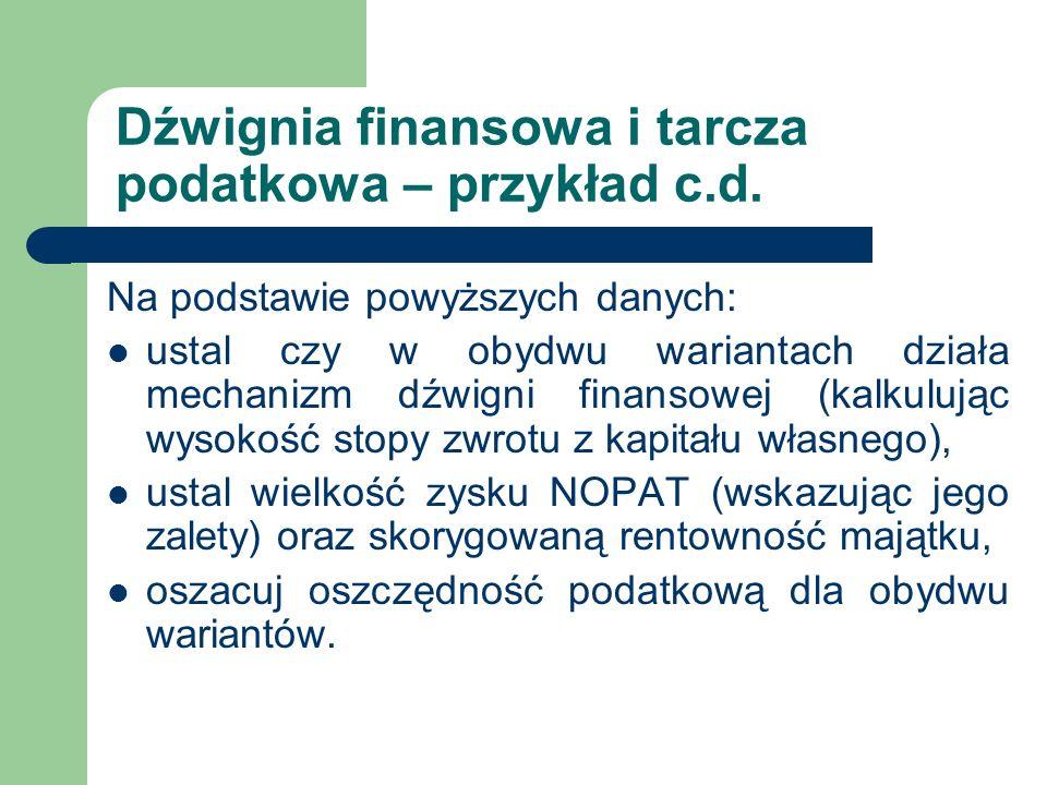 Dźwignia finansowa i tarcza podatkowa – przykład c.d. Na podstawie powyższych danych: ustal czy w obydwu wariantach działa mechanizm dźwigni finansowe