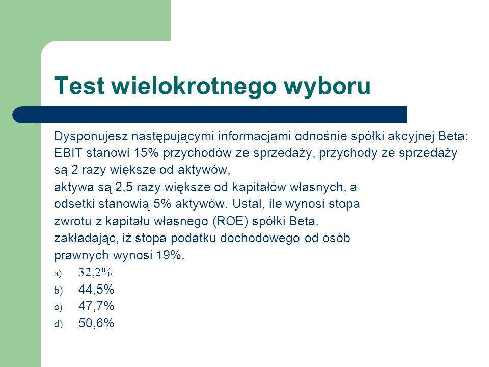 Test wielokrotnego wyboru Dysponujesz następującymi informacjami odnośnie spółki akcyjnej Beta: EBIT stanowi 15% przychodów ze sprzedaży, przychody ze