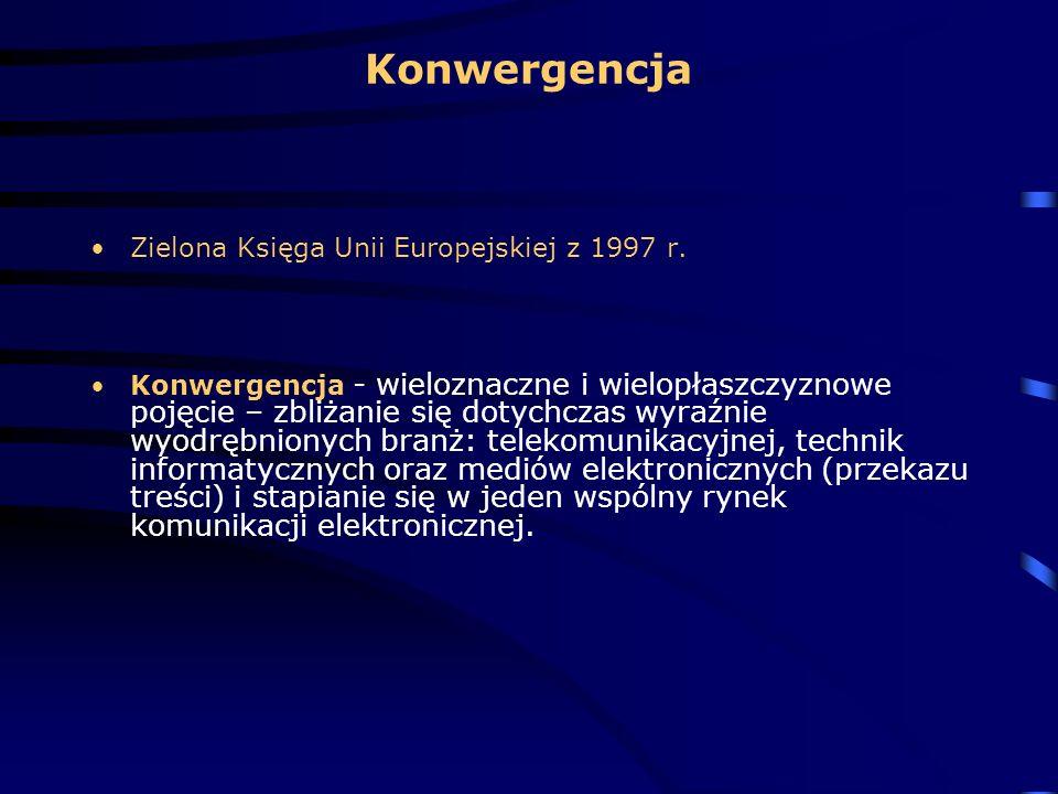 Konwergencja Zielona Księga Unii Europejskiej z 1997 r. Konwergencja - wieloznaczne i wielopłaszczyznowe pojęcie – zbliżanie się dotychczas wyraźnie w