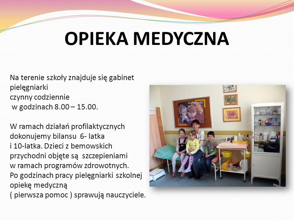 OPIEKA MEDYCZNA Na terenie szkoły znajduje się gabinet pielęgniarki czynny codziennie w godzinach 8.00 – 15.00. W ramach działań profilaktycznych doko