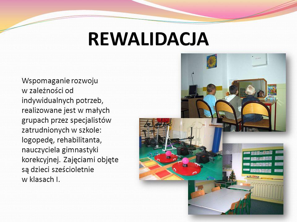 REWALIDACJA Wspomaganie rozwoju w zależności od indywidualnych potrzeb, realizowane jest w małych grupach przez specjalistów zatrudnionych w szkole: l