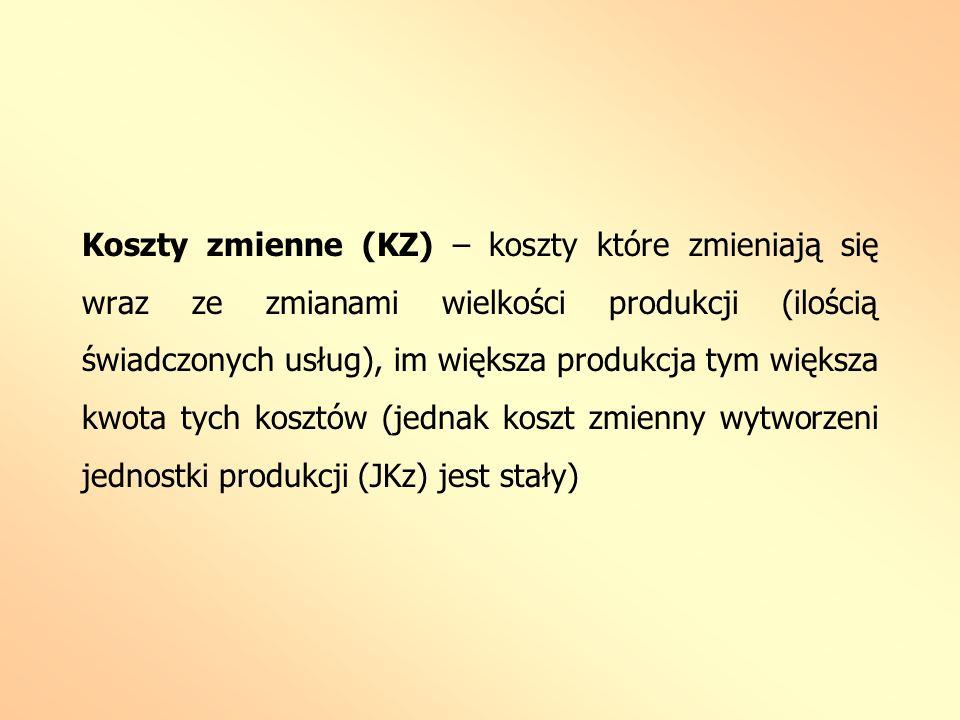 Koszty zmienne (KZ) – koszty które zmieniają się wraz ze zmianami wielkości produkcji (ilością świadczonych usług), im większa produkcja tym większa k