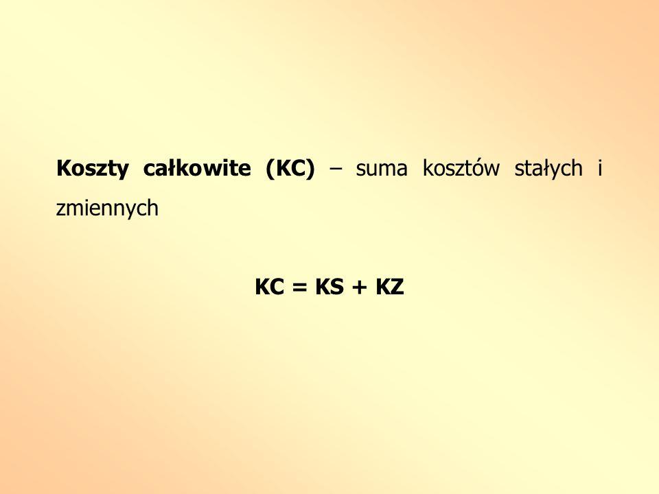 Koszty całkowite (KC) – suma kosztów stałych i zmiennych KC = KS + KZ
