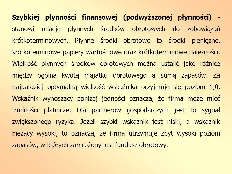 Szybkiej płynności finansowej (podwyższonej płynności) - stanowi relację płynnych środków obrotowych do zobowiązań krótkoterminowych. Płynne środki ob