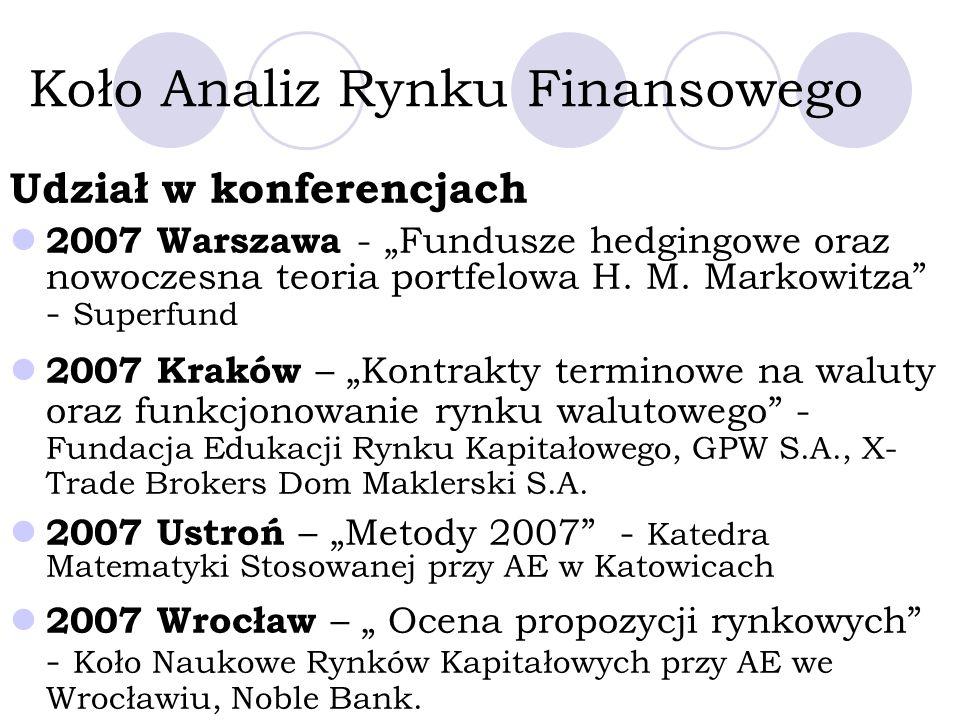 Udział w konferencjach 2007 Warszawa - Fundusze hedgingowe oraz nowoczesna teoria portfelowa H.