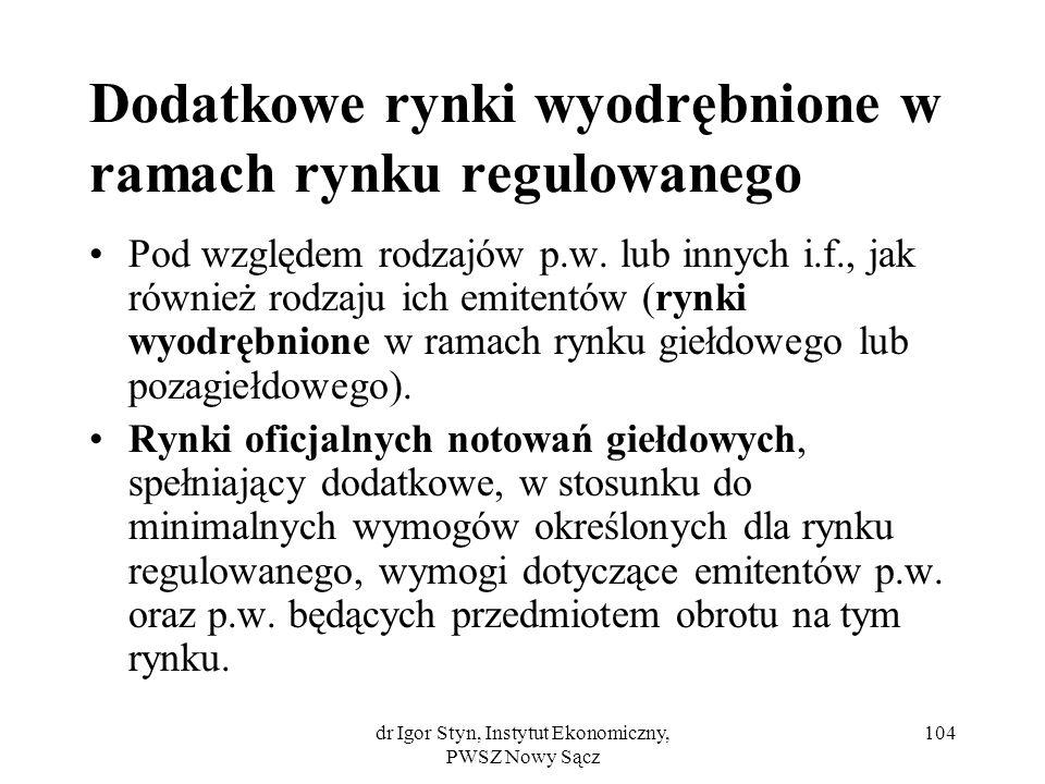 dr Igor Styn, Instytut Ekonomiczny, PWSZ Nowy Sącz 104 Dodatkowe rynki wyodrębnione w ramach rynku regulowanego Pod względem rodzajów p.w. lub innych