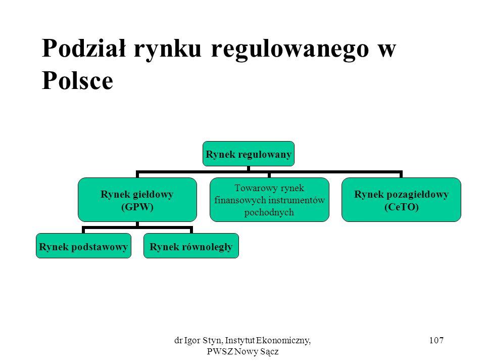 dr Igor Styn, Instytut Ekonomiczny, PWSZ Nowy Sącz 107 Podział rynku regulowanego w Polsce Rynek regulowany Rynek giełdowy (GPW) Rynek podstawowyRynek