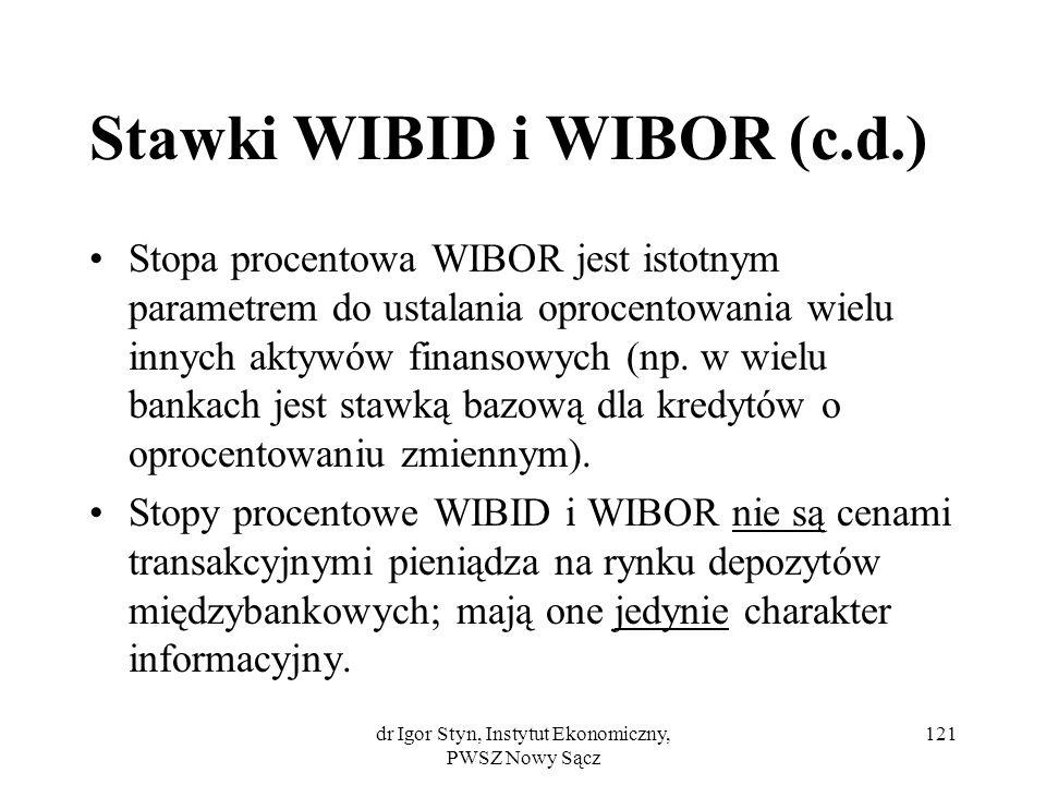 dr Igor Styn, Instytut Ekonomiczny, PWSZ Nowy Sącz 121 Stawki WIBID i WIBOR (c.d.) Stopa procentowa WIBOR jest istotnym parametrem do ustalania oproce