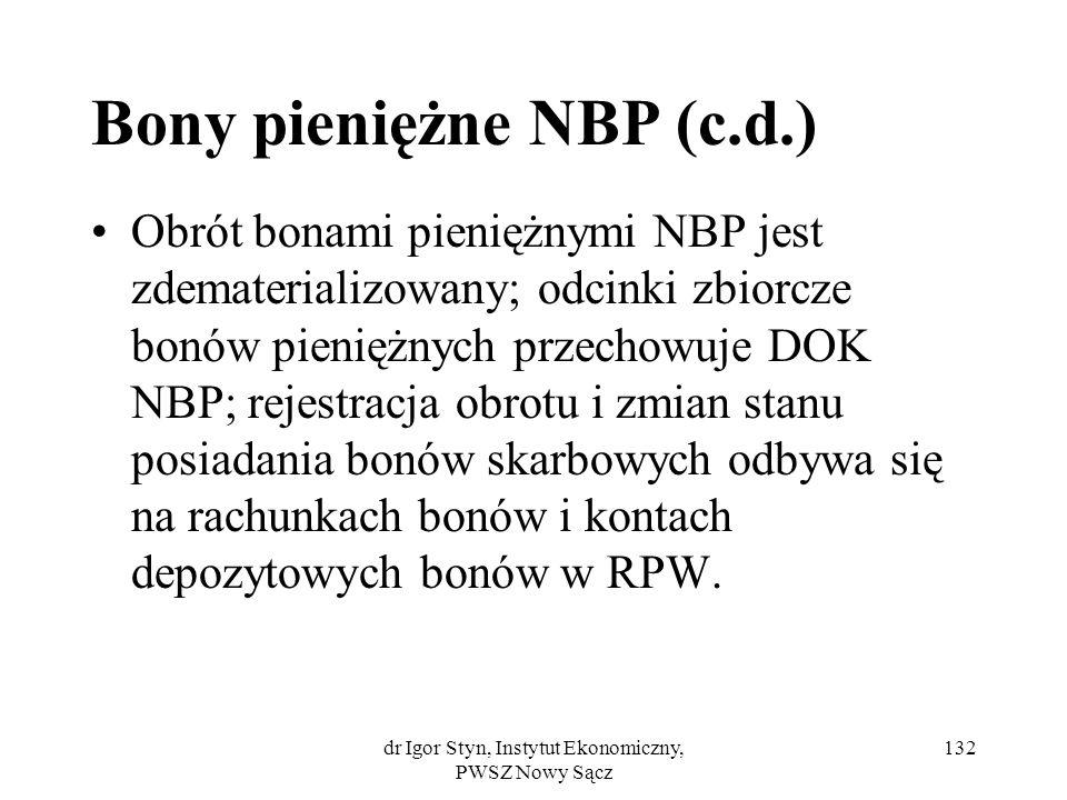 dr Igor Styn, Instytut Ekonomiczny, PWSZ Nowy Sącz 132 Bony pieniężne NBP (c.d.) Obrót bonami pieniężnymi NBP jest zdematerializowany; odcinki zbiorcz